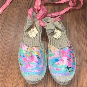 Lilly Pulitzer Erica Espadrille Sandals Lace Up 7